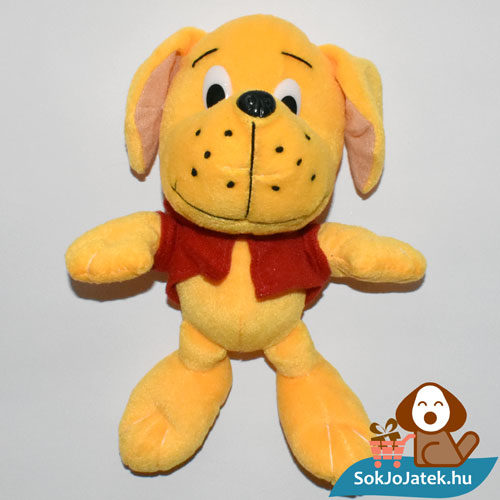 Narancs színű plüss kutyus piros pólóban