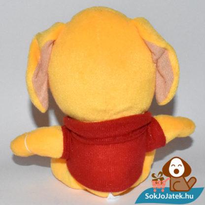 Narancs színű plüss kutyus piros pólóban hátulról