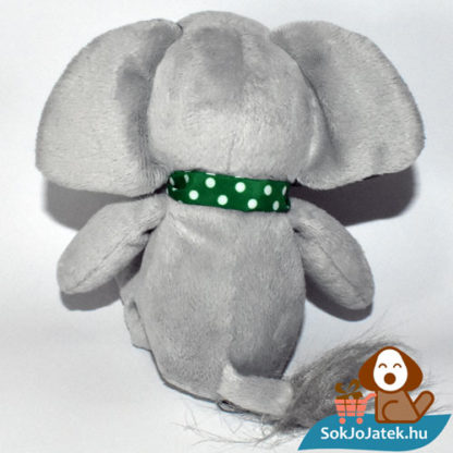 Kinder plüss elefánt zöld kendővel hátulról