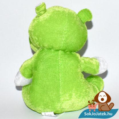 Zöld színű plüss víziló hátulról