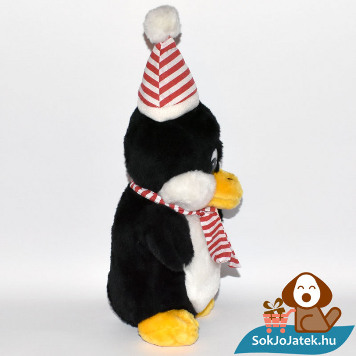 Windel csíkos sálas plüss pingvin oldalról