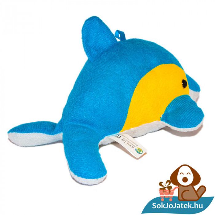 Nicky Toy kék-sárga-fehér plüss delfin hátulról