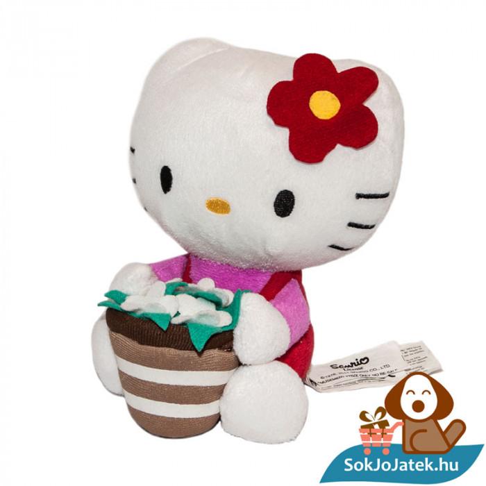 Hello Kitty plüss virágcseréppel