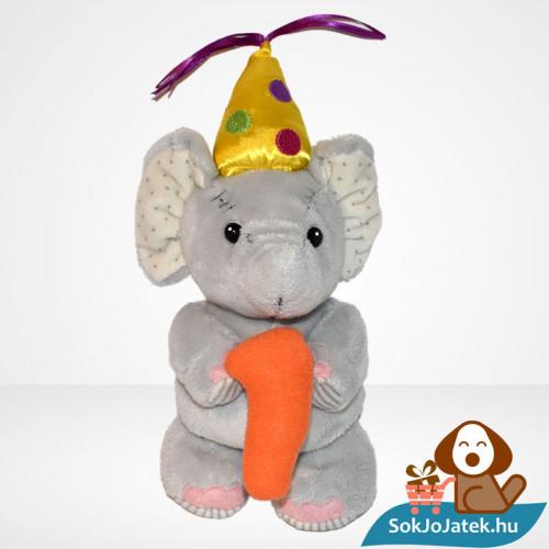1 éves szülinapi vagy évfordulós plüss elefánt (Elliot & Buttons)