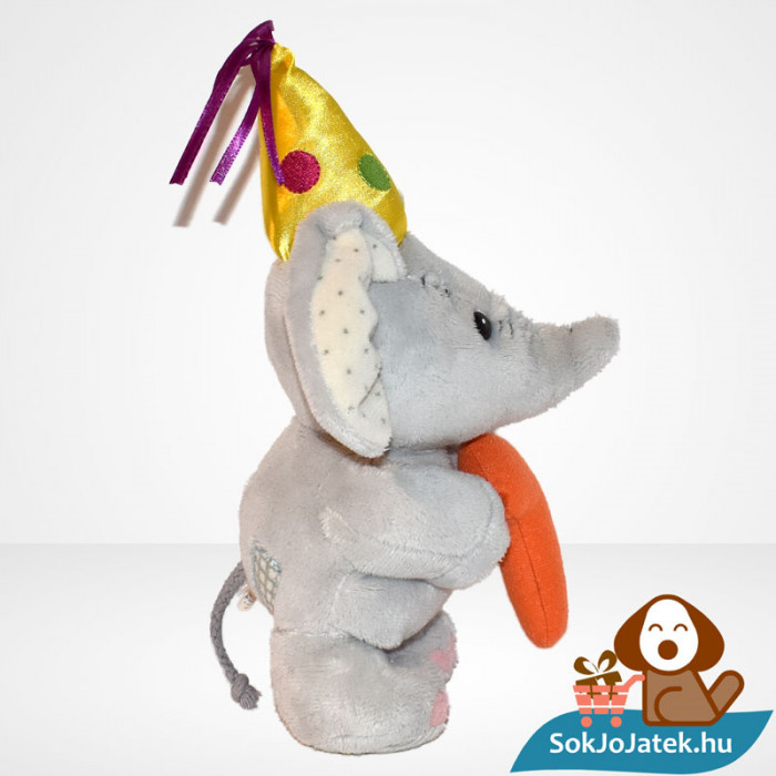 1 éves szülinapi vagy évfordulós plüss elefánt (Elliot & Buttons) oldalról