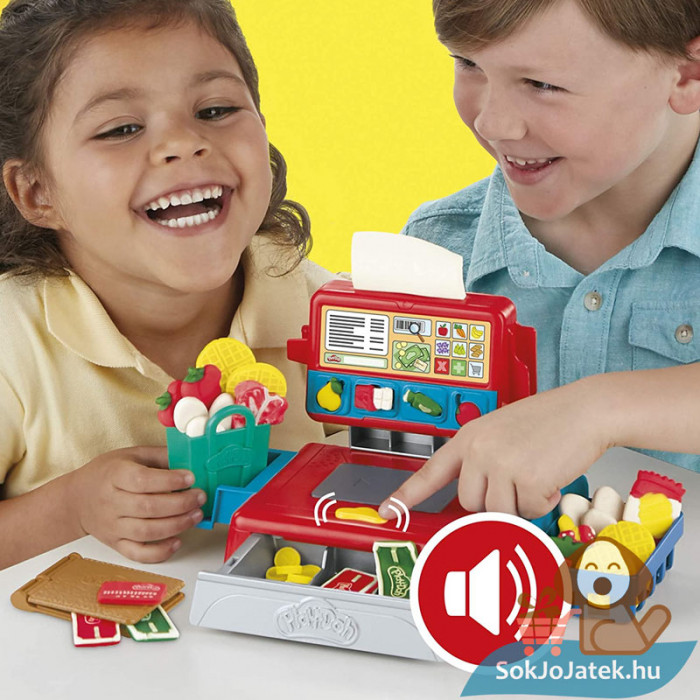 Play-Doh: Pénztárgép szett gyurma készlet, játék közben