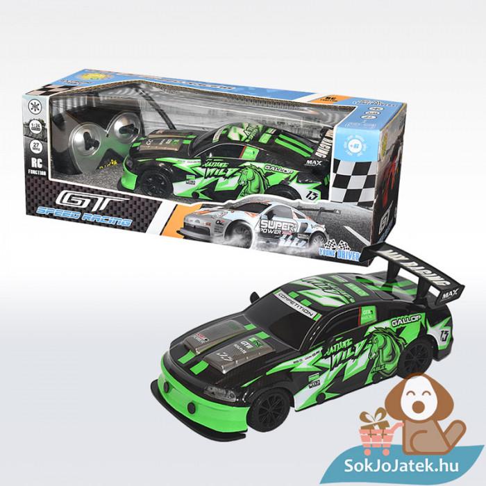 Tachan RC Távirányítós versenyautó fekete-zöld 1:24 (CPA Toys)