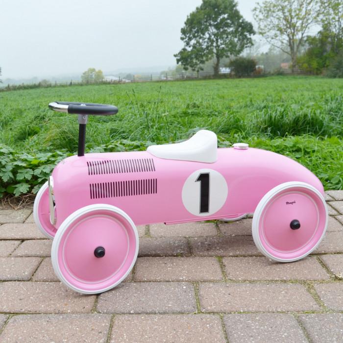Ride-on lábbal hajtós versenyautó, rózsaszín, Magni - kép 2