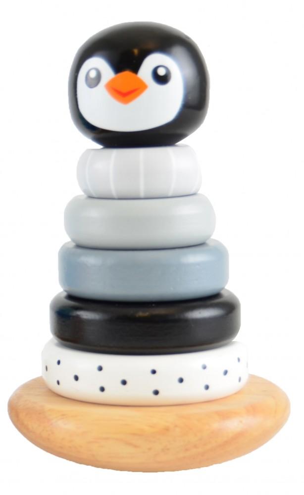 Pingvines toronyépítő játék fából Magni, kép 4