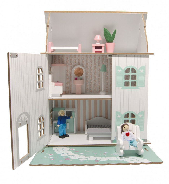 3 szintes fa babaház bútorral, pasztell színben, Magni, kép 7
