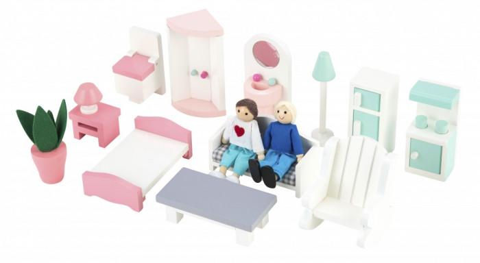3 szintes fa babaház bútorral, pasztell színben, Magni, kép 6