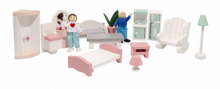 3 szintes fa babaház bútorral, pasztell színben, Magni, kép 5