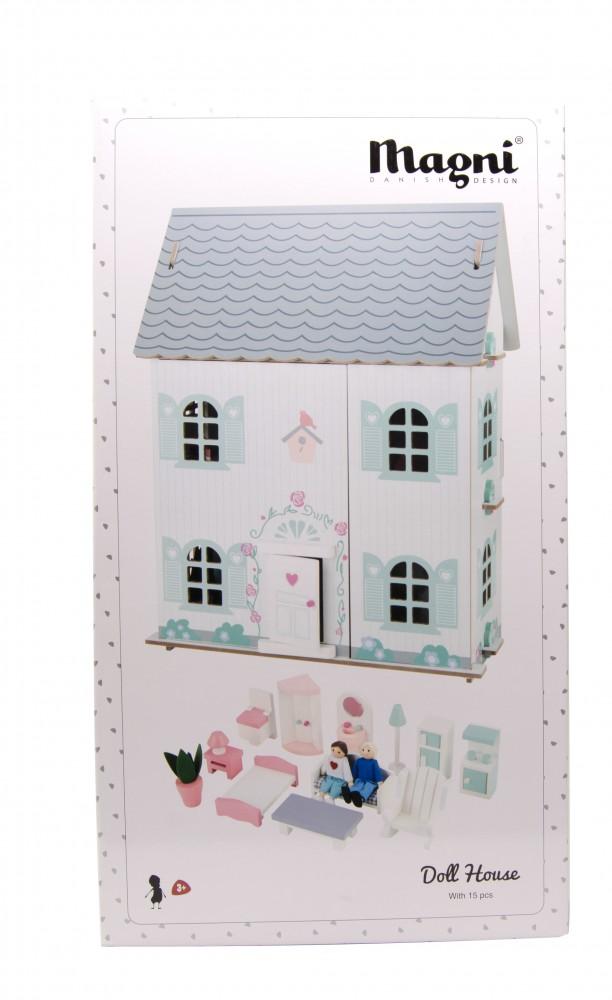 3 szintes fa babaház bútorral, pasztell színben, Magni, kép 3