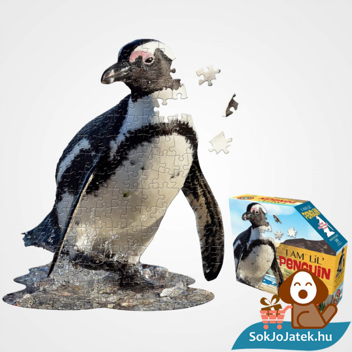 100 db élethű pingvin forma kirakó junior - Wow Toys doboza és kirakott képe