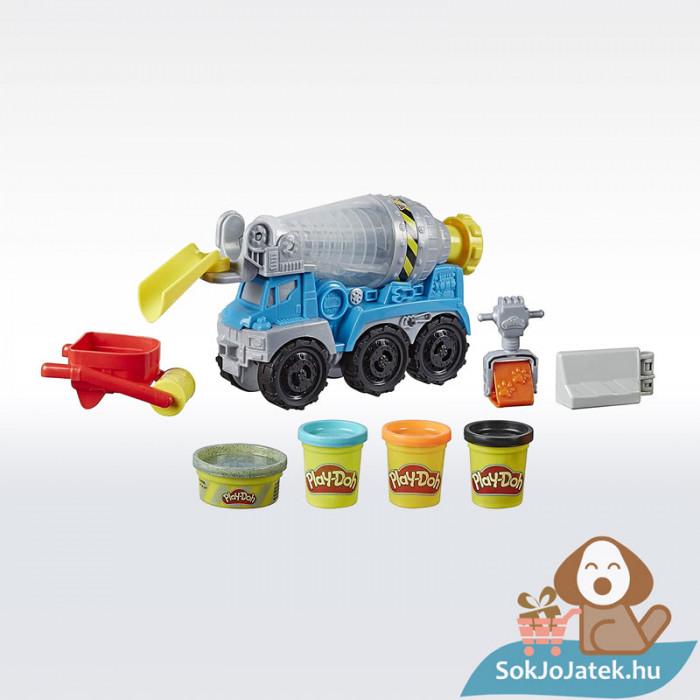 Play-Doh: Betonkeverő autó gyurma készlet, a doboz tartalma