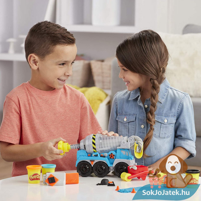 Play-Doh: Betonkeverő autó gyurma készlet, készül a beton