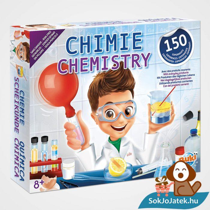 150 kisérletes Buki kémiai labor gyerekeknek doboza