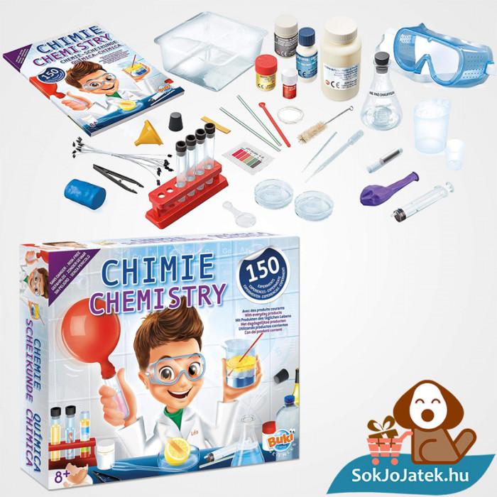 150 kisérletes Buki kémiai labor gyerekeknek doboza és tartozékai