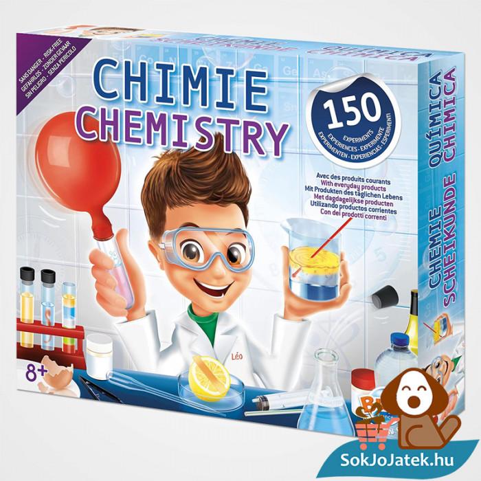 150 kisérletes Buki kémiai labor gyerekeknek doboza balról