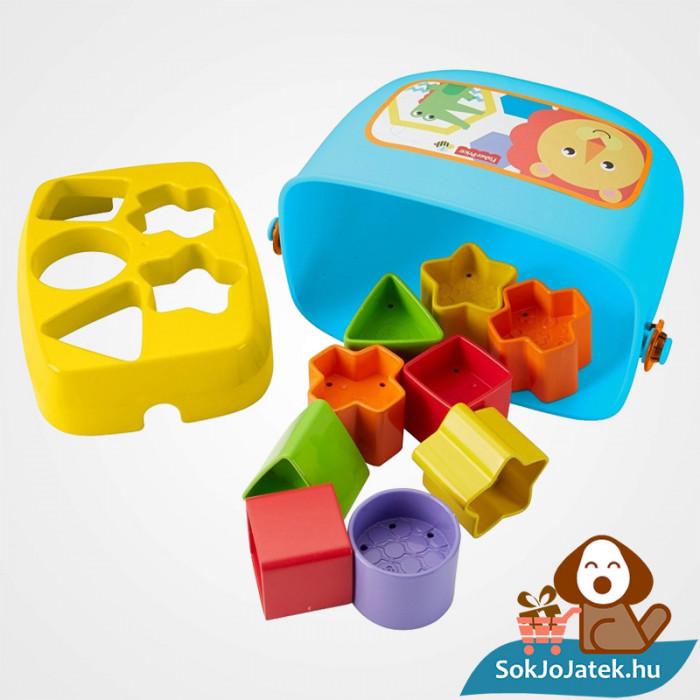 10 darabos Fisher-Price formaevő doboz (Mattel) játék formakockákkal kiöntve