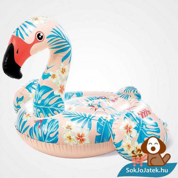 Intex 57559: Trópusi flamingó strand matrac, lovagló kapaszkodóval felfújva balról