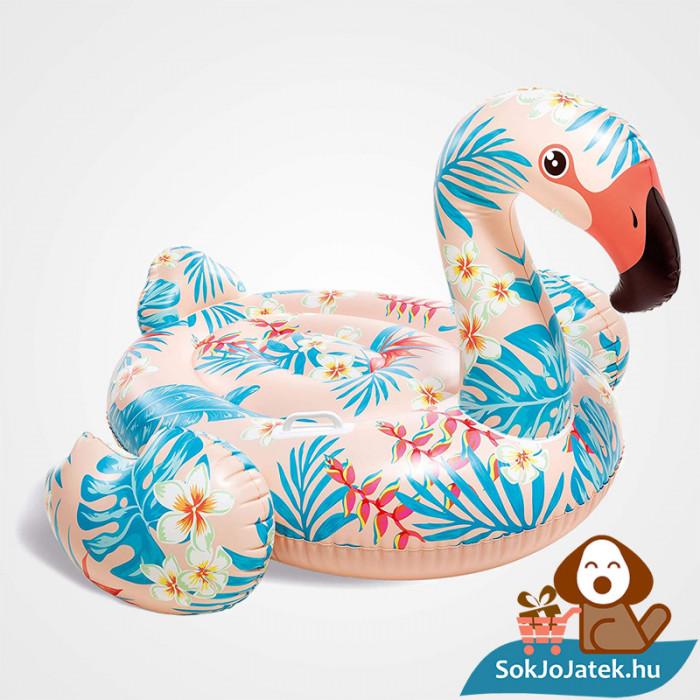 Intex 57559: Trópusi flamingó strand matrac, lovagló kapaszkodóval felfújva jobbról
