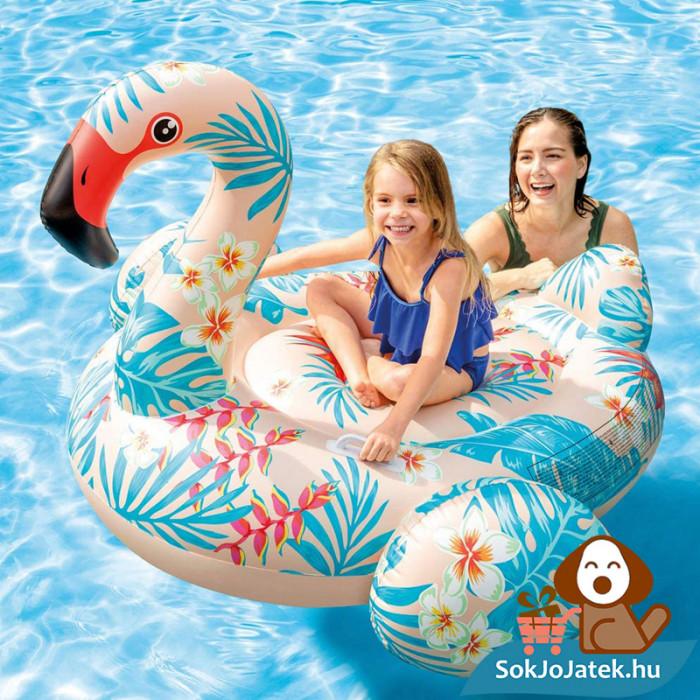 Intex 57559: Trópusi flamingó strand matrac, lovagló kapaszkodóval a vízben