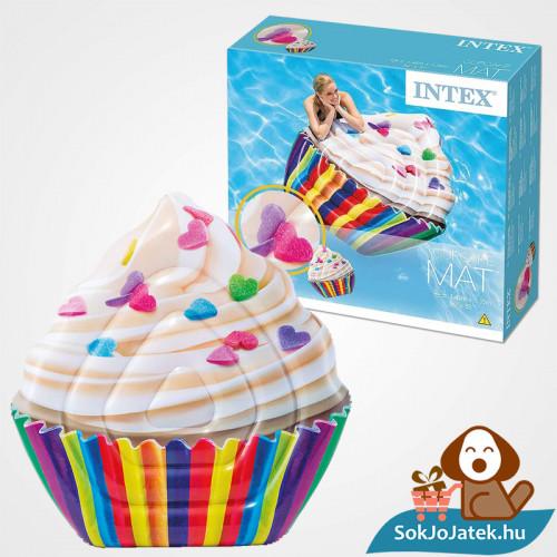 Intex 58770: Muffin formájú felfújható strand matrac doboza és felfújva