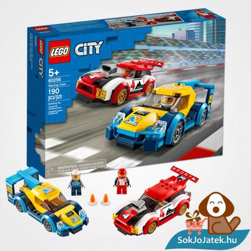 Lego City 60256 Versenyautók doboza és a versenyautók