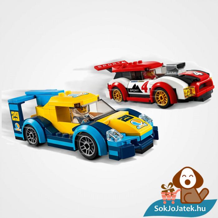 Lego City 60256 Versenyautók doboza és a versenyautók menet közben