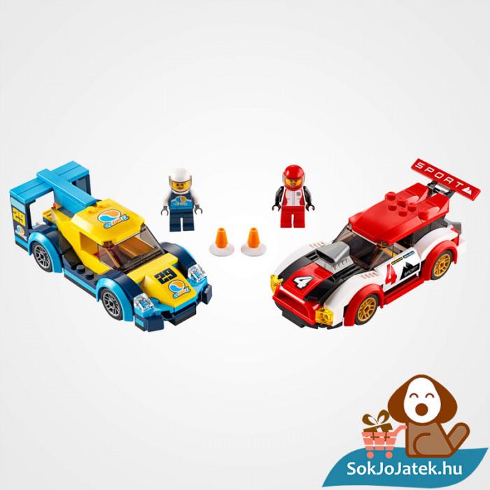 Lego City 60256 Versenyautók doboza és a versenyautók összeépítve