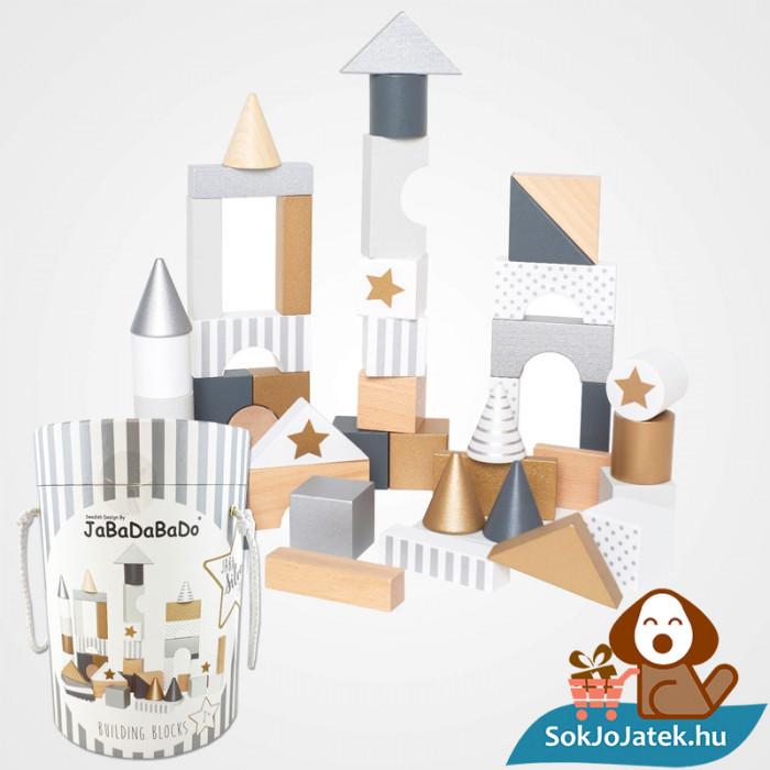 47 darabos Jabadabado arany és ezüst fa építőjáték doboza és darabkái