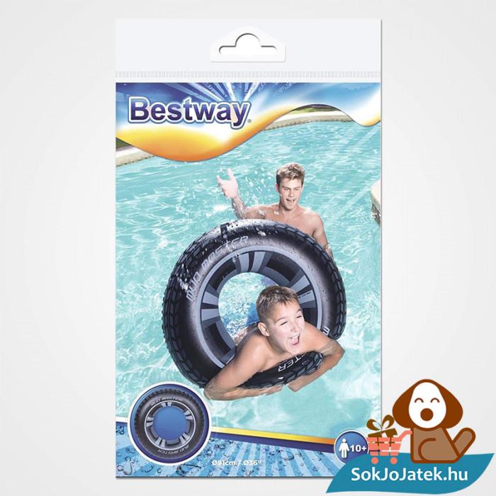 91 centiméteres Bestway 36016 felfújható fekete autókerék mintás úszógumi csomagolása