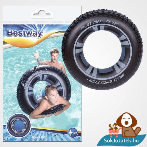 91 centiméteres Bestway 36016 felfújható fekete autókerék mintás úszógumi csomagolása és felfújva