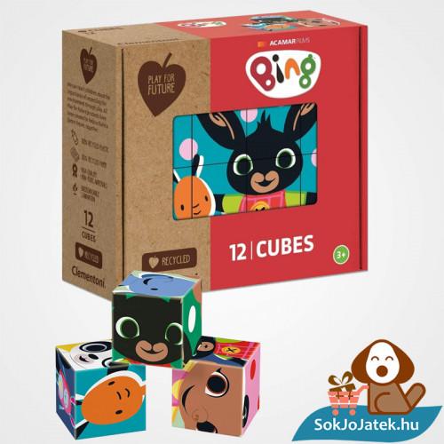 12 darabos Bing és Barátai mesekocka játék doboza és kockái- Clementoni