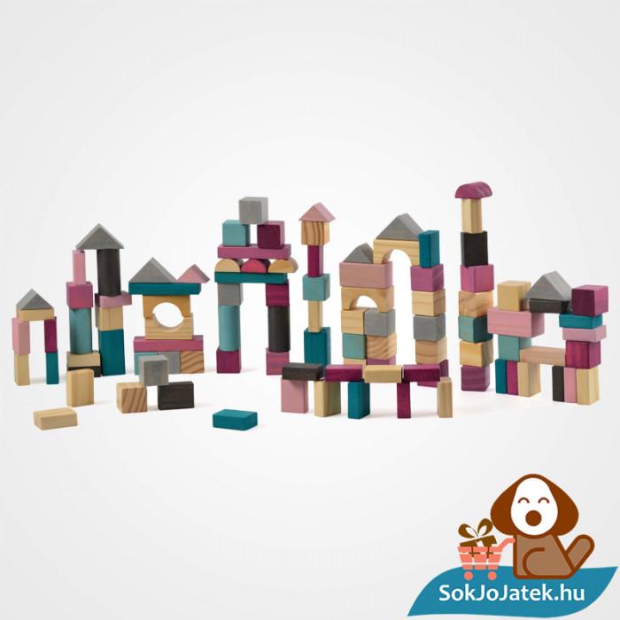 100 darabos Magni építőkocka játék szett formabedobó tetővel összeépítve