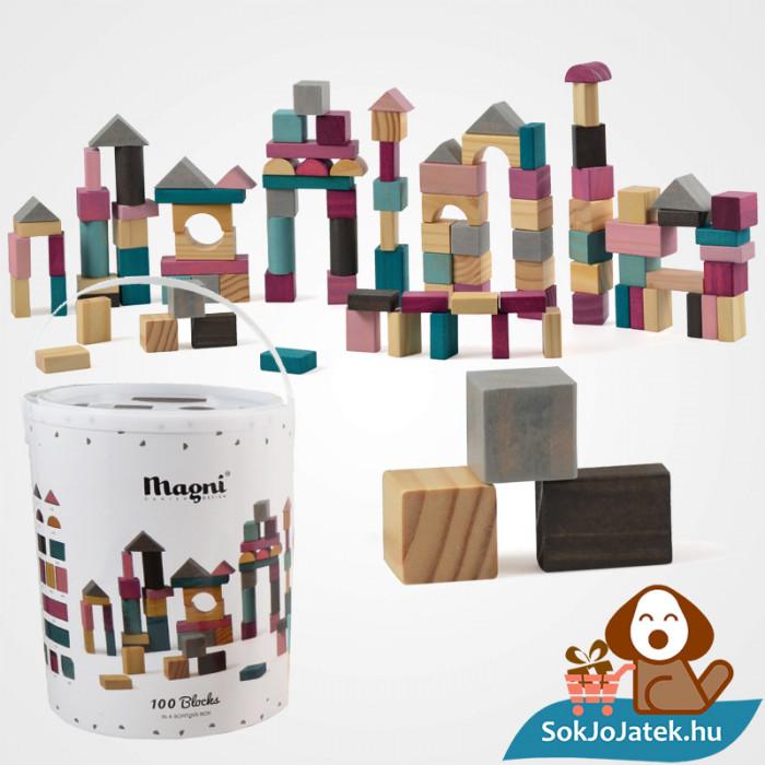 100 darabos Magni építőkocka játék szett formabedobó tetővel