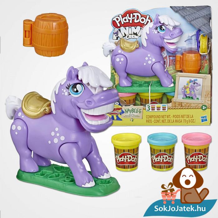 Hasbro, Play-Doh Play-Doh Animal Crew - Naybelle, a rodeó póni gyurmaszett doboza és kellékei