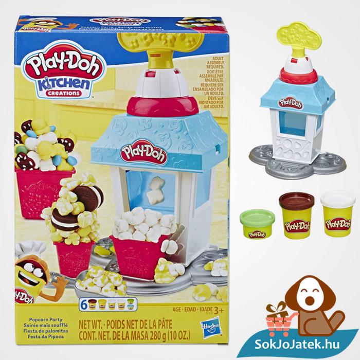 Hasbro Play-Doh gyurma popcorn készítő party szett doboza és eszköz