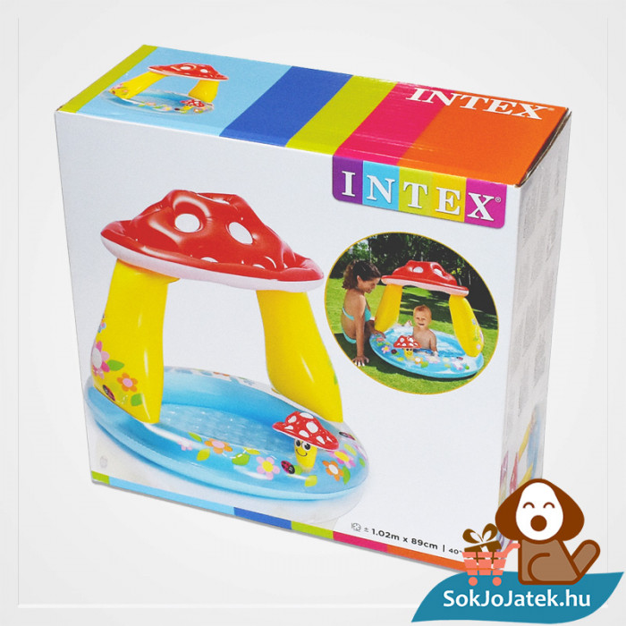Intex felfújható gomba tetős baba medence doboza balról