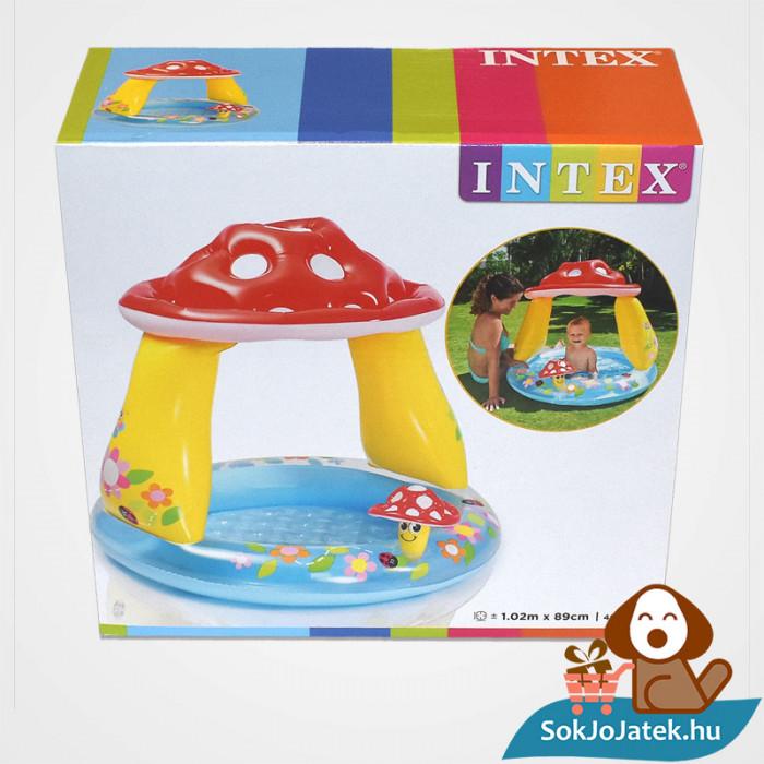 Intex felfújható gomba tetős baba medence doboza előről