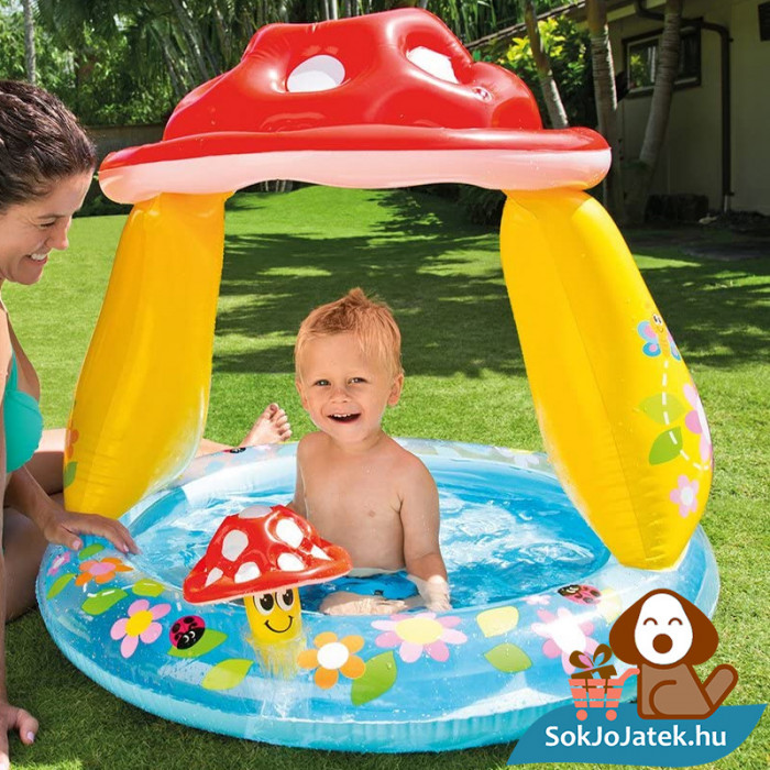 Intex felfújható gomba tetős baba medence játék közben