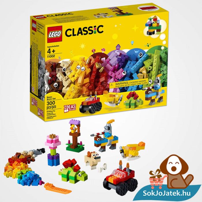300 darabos Lego Classic (11002) alap kocka készlet doboza és összeépített formák
