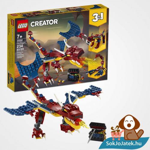 Lego Creator 31102 3in1 Tűzsárkány doboza és összeépítve