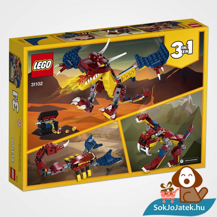 Lego Creator 31102 3in1 Tűzsárkány doboza hátulról