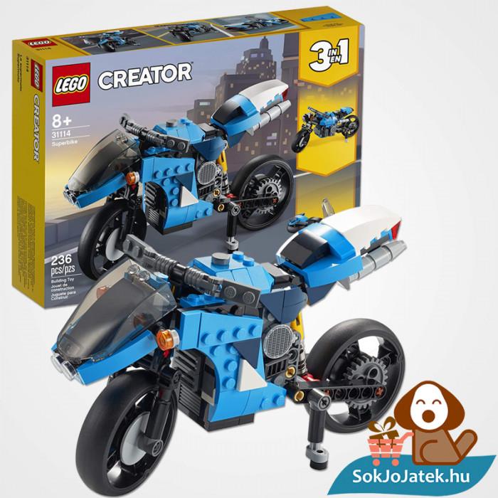 Lego Creators 31114 Szupermotor doboza és összeépített legója