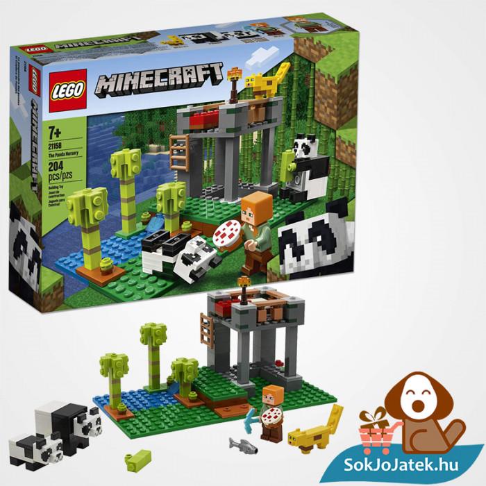 204 darabos Lego Minecraft - A Pandabölcsöde összeépítve és doboza