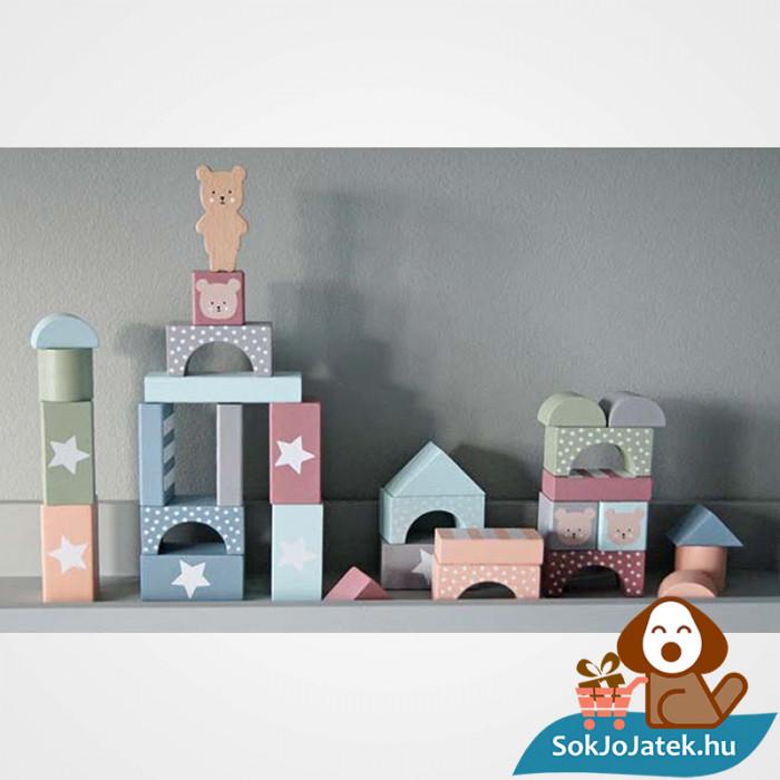 49 darabos pasztel színű fa építőkocka játék készlet dekorációként- JabaDaBaDo