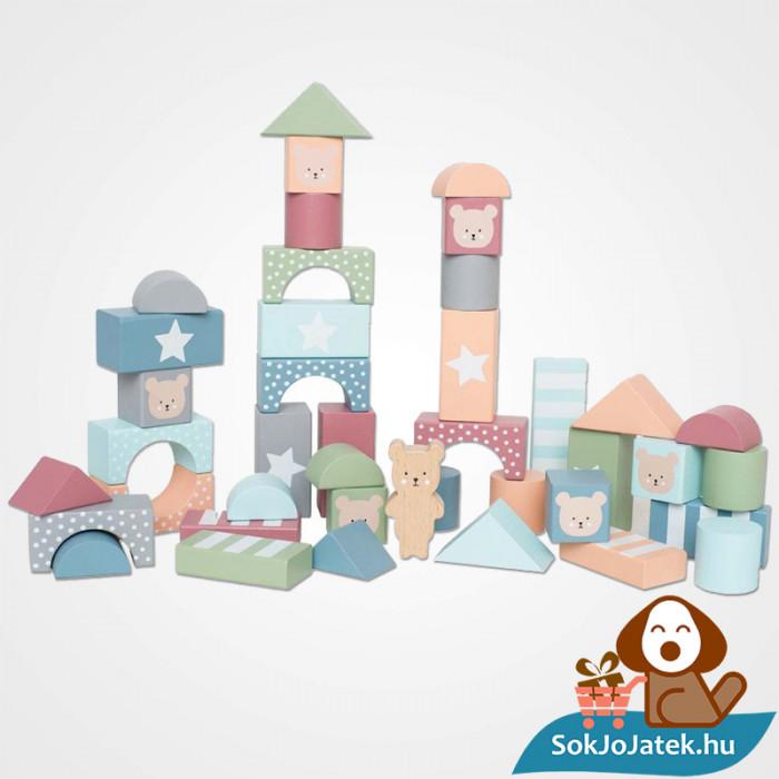 49 darabos pasztel színű fa építőkocka játék készlet elemei - JabaDaBaDo