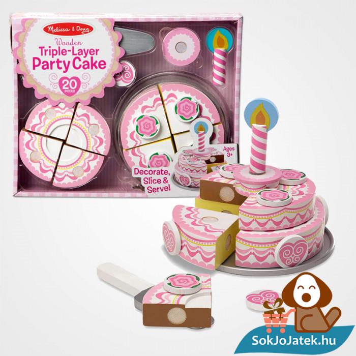 20 darabos Melissa & Doug Sütés-főzés: szeletelhető emeletes fa torta játékszett doboza és a szeletelt torta késsel